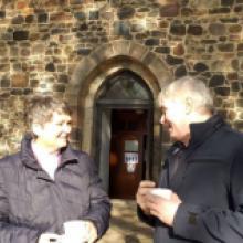 2020 der 25. Oktober Pfarrerin Döpmann im Gespräch nach erfolgter Urkundenverleihung im GD